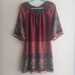 Wide sleeve Boho print dress size M